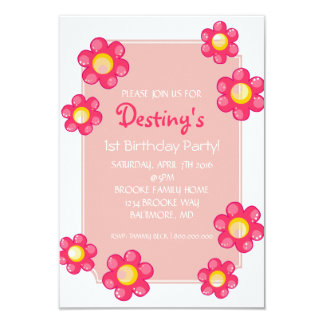 Birthday Party Invite   Cute Flower  whi