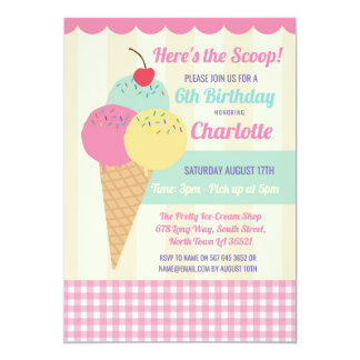 Birthday Party Invite Ice Cream Scoop Parlour