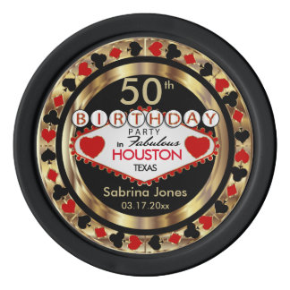 Birthday Party Invite Poke Chips -DIY City & State Set Of Poker Chips
