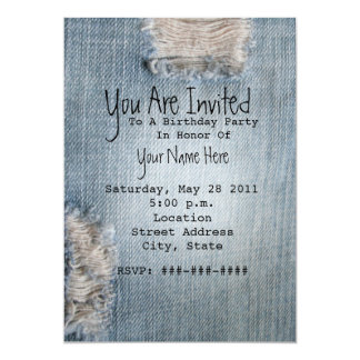 Birthday Party Invite - Ripped Blue Jeans