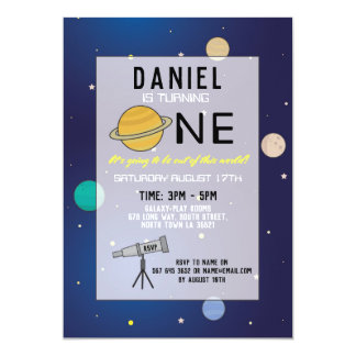 Birthday Party Invite Space Galaxy Planets 1st One