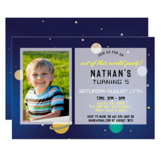 Birthday Party Invite Space Galaxy Planets Photo