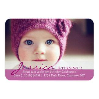 "Birthday Party Invite | Turning 1! 3.5"" X 5"" Invitation Card"