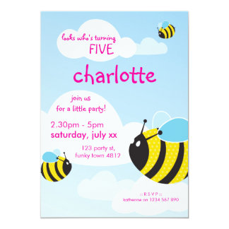 BIRTHDAY PARTY INVITES :: bees in the sky 1P