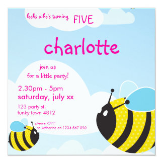 BIRTHDAY PARTY INVITES :: bees in the sky 1SQ