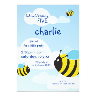 BIRTHDAY PARTY INVITES :: bees in the sky 2P