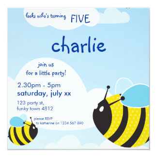 BIRTHDAY PARTY INVITES :: bees in the sky 2SQ