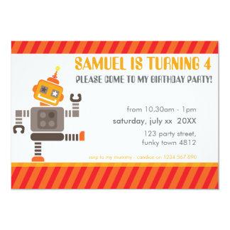 BIRTHDAY PARTY INVITES cool robot dancing orange