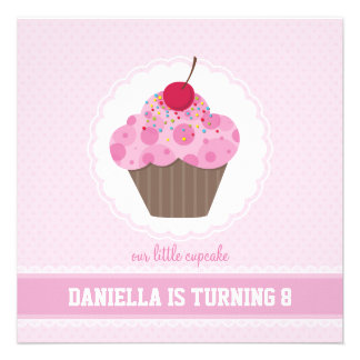 BIRTHDAY PARTY INVITES cupcake 6SQ