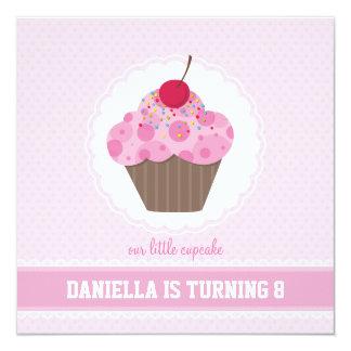 """BIRTHDAY PARTY INVITES :: cupcake 6SQ 5.25"""" Square Invitation Card"""