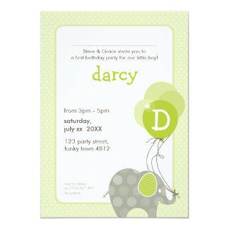 BIRTHDAY PARTY INVITES :: elephant + balloons 2P