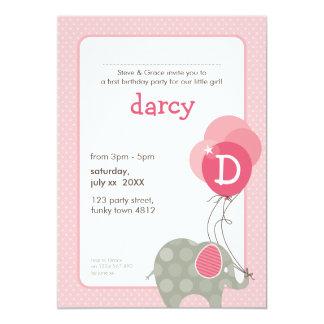 BIRTHDAY PARTY INVITES :: elephant + balloons 3P
