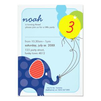 """BIRTHDAY PARTY INVITES :: elephant + balloons 3P 5"""" X 7"""" Invitation Card"""