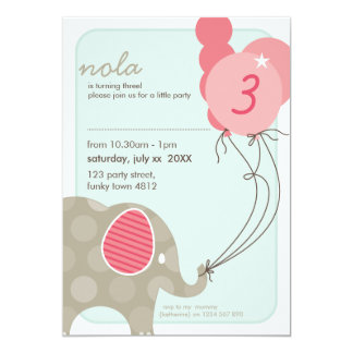 BIRTHDAY PARTY INVITES :: elephant + balloons 4P