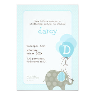 BIRTHDAY PARTY INVITES :: elephant + balloons 4P
