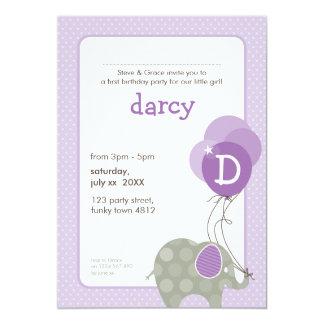 BIRTHDAY PARTY INVITES :: elephant + balloons 5P