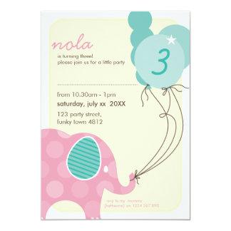 """BIRTHDAY PARTY INVITES :: elephant + balloons 7P 5"""" X 7"""" Invitation Card"""
