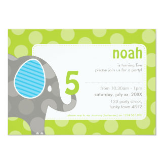 BIRTHDAY PARTY INVITES :: elephant + number 1L