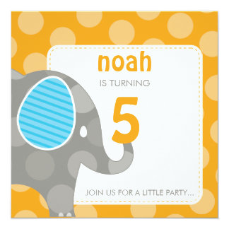 BIRTHDAY PARTY INVITES :: elephant + number 1SQ