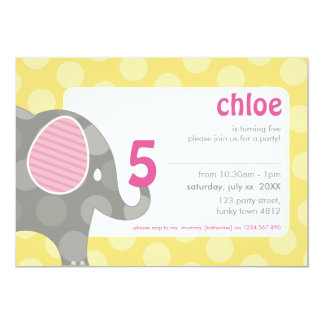 BIRTHDAY PARTY INVITES :: elephant + number 3L