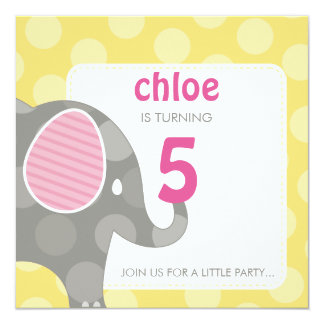 BIRTHDAY PARTY INVITES :: elephant + number 3SQ