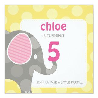 BIRTHDAY PARTY INVITES :: elephant + number 3SQ