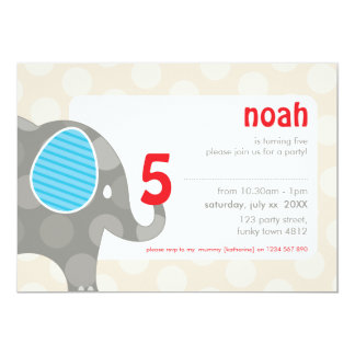 BIRTHDAY PARTY INVITES :: elephant + number 4L