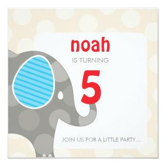 BIRTHDAY PARTY INVITES :: elephant + number 4SQ