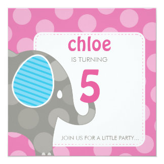 BIRTHDAY PARTY INVITES :: elephant + number 5SQ 13 Cm X 13 Cm Square Invitation Card