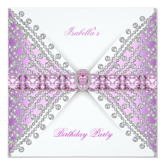 Birthday Party Lilac Pink Silver White Diamond Bow Card