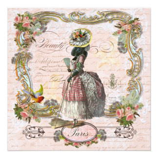 Birthday Party Marie Antoinette Poodle Personalized Invite
