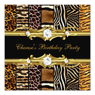 Birthday Party Mixed Animal Prints Gold Black Announcement