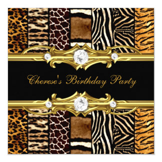 "Birthday Party Mixed Animal Prints Gold Black 5.25"" Square Invitation Card"