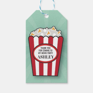 Birthday Party Movie Popcorn Film Thank You Tags