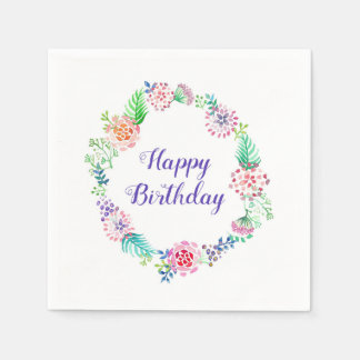 Birthday party napkins floral watercolor paper napkin