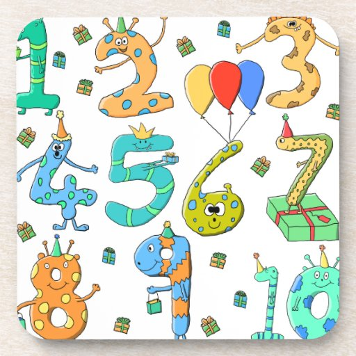 Birthday Party Numbers Beverage Coaster
