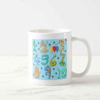 Birthday Party Numbers, on Pale Blue. Mugs