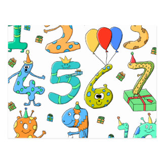 Birthday Party Numbers Postcard