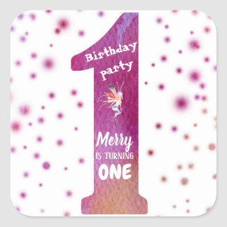 Birthday Party One Watercolor Fairy  Sticker