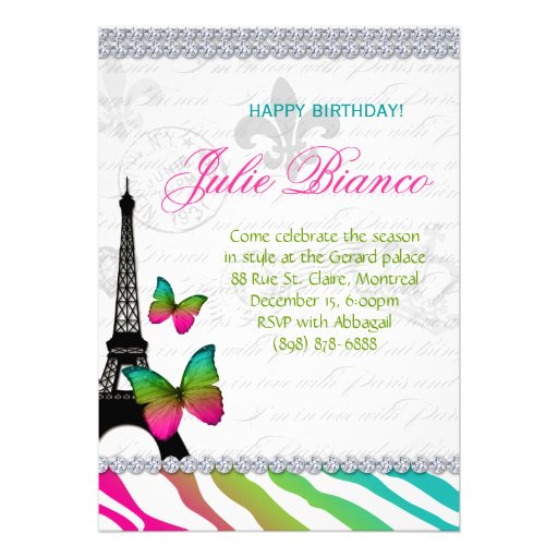 Birthday Party Paris Card Eiffel Tower Butterflies