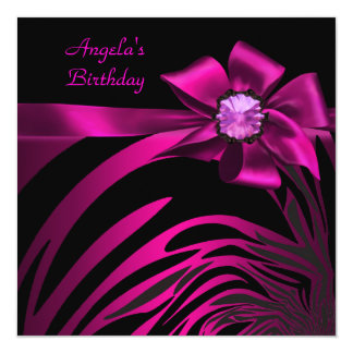 Birthday Party Pink Bow Black Pink Zebra Card