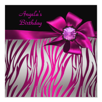 Birthday Party Pink Bow Black Pink Zebra Silver 13 Cm X 13 Cm Square Invitation Card