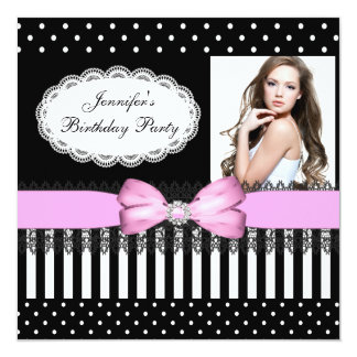Birthday Party Pink Bow Black White Polka Dots 13 Cm X 13 Cm Square Invitation Card