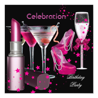 Birthday Party Pink Champagne Drinks Card