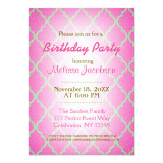 Birthday Party | Pink Quatrefoil Card