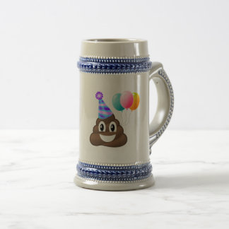 Birthday Party Poop Emoticon Beer Mug