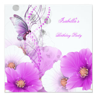 Birthday Party Pretty Floral Lilac White Butterfly 13 Cm X 13 Cm Square Invitation Card