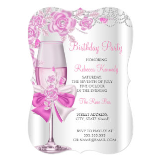 Birthday Party Pretty Pink Rose Champagne 13 Cm X 18 Cm Invitation Card