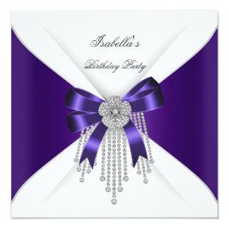 Birthday Party Purple Bow Silver White Diamond 13 Cm X 13 Cm Square Invitation Card