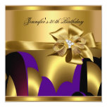Birthday Party Purple Gold Abstract Personalised Invite